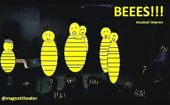 The BEEES!!! opening, artistically rendered by Desireé Nash