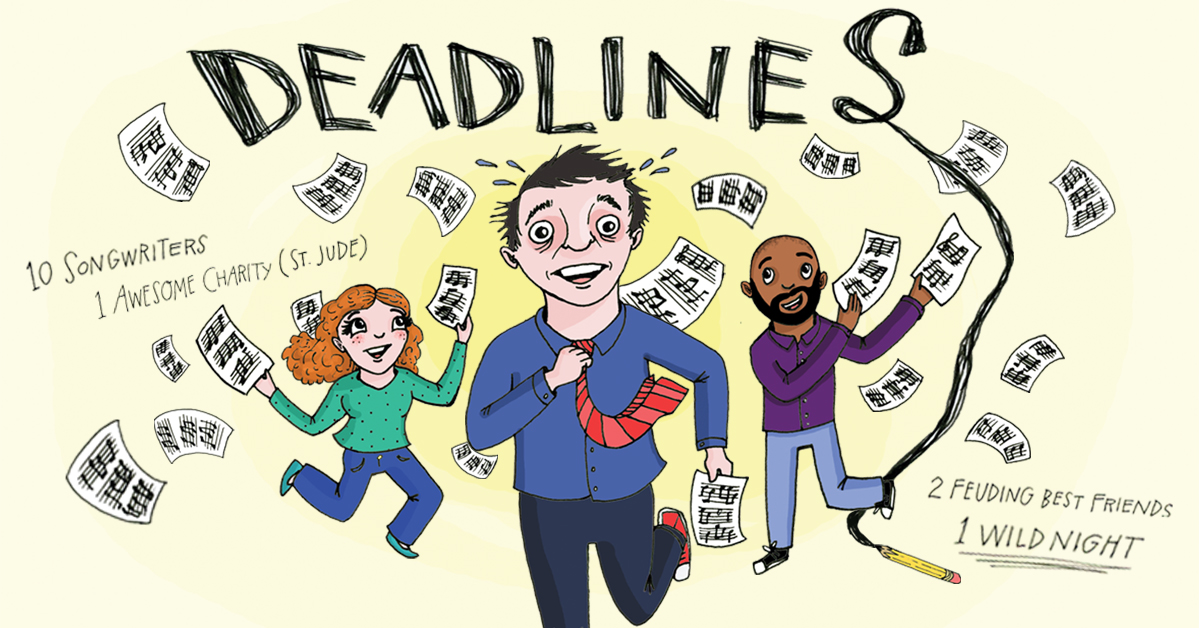 cartoon poster for Deadlines at Magnet Theater