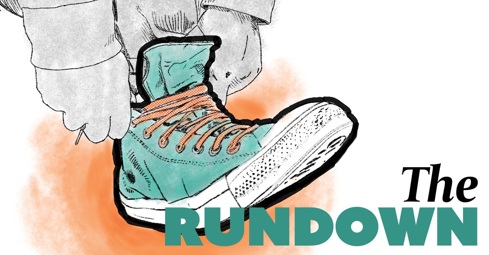 rundown pulling on shoe illustration