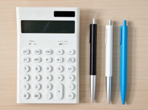 Calculator and pencil image