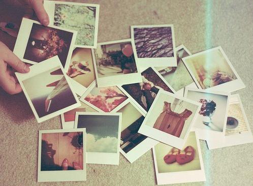 polaroids scattered