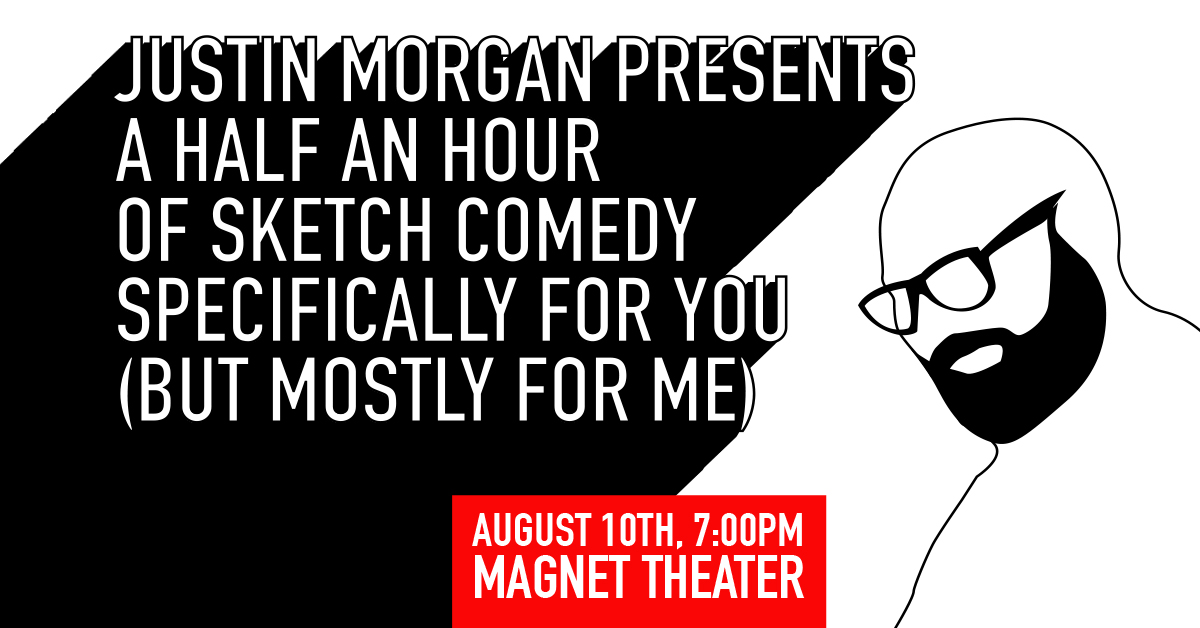 Justin Morgan Presents show title with cartoon drawing of Justin Morgan