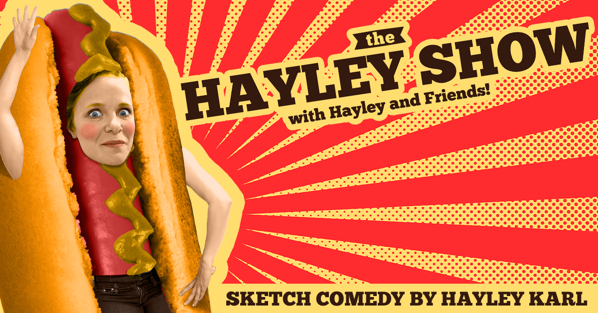 Hayley Karl in a hot dog suit for The Hayley Show
