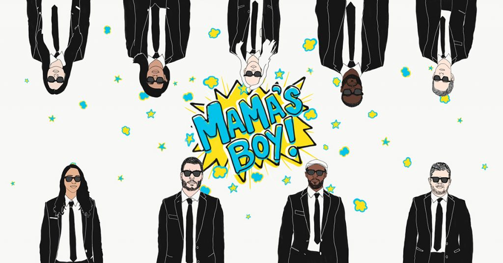 Mama's Boy cast drawn in suits and sunglasses with logo in center