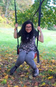 Veronica Venture on a swing