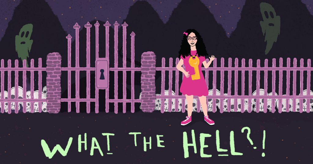 What the Hell illustration with Veronica Venture in front of a fence