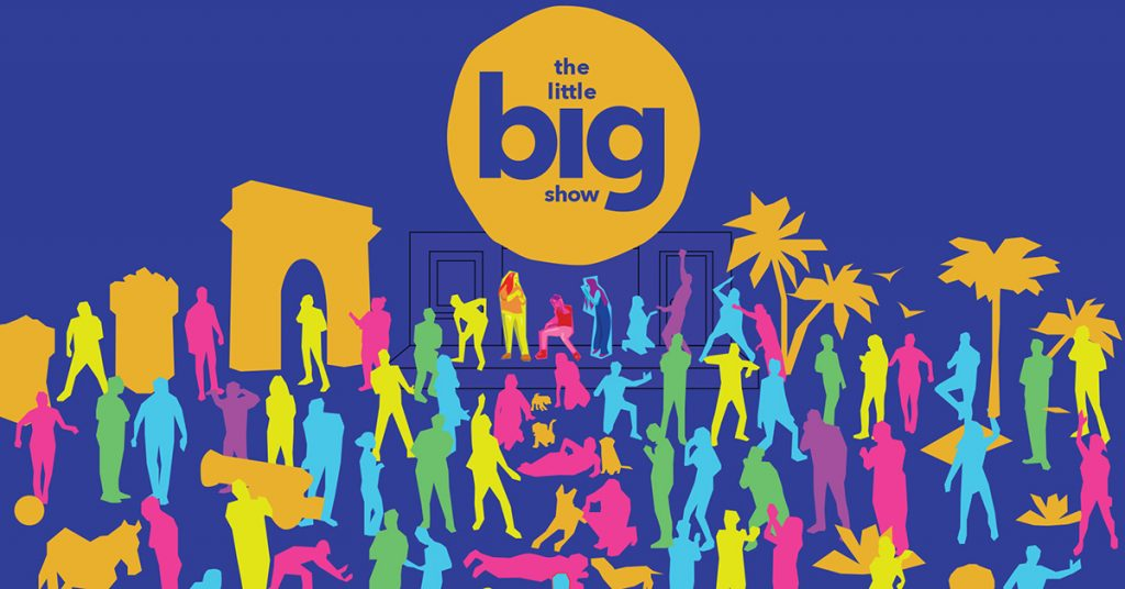 A colorful collection of cartoon characters spreading out from an improv stage, under the words The Little Big Show.